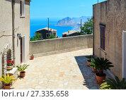 Купить «Tyrrhenian sea and Cofano rock from Erice, Sicily, Italy», фото № 27335658, снято 16 июня 2017 г. (c) Юрий Брыкайло / Фотобанк Лори