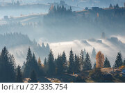 Купить «First rays of sun in Carpathians.», фото № 27335754, снято 18 октября 2017 г. (c) Юрий Брыкайло / Фотобанк Лори