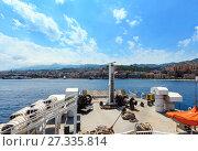 Купить «Messina strait from ferry, Sicily, Italy», фото № 27335814, снято 11 июня 2017 г. (c) Юрий Брыкайло / Фотобанк Лори