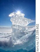 Купить «Ice floe and sun on winter Baikal lake», фото № 27339602, снято 16 марта 2013 г. (c) Serg Zastavkin / Фотобанк Лори