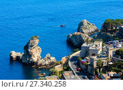 Купить «Taormina coast from up, Sicily, Italy», фото № 27340258, снято 11 июня 2017 г. (c) Юрий Брыкайло / Фотобанк Лори