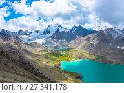 Купить «Landscape with mountain lake Ala-Kul, Kyrgyzstan», фото № 27341178, снято 8 августа 2016 г. (c) Валерий Смирнов / Фотобанк Лори