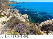 Купить «Sea beach near Rocca di San Nicola, Agrigento, Sicily, Italy», фото № 27341662, снято 14 июня 2017 г. (c) Юрий Брыкайло / Фотобанк Лори