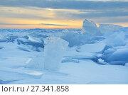 Купить «Восход солнца над зимним Байкалом», фото № 27341858, снято 1 марта 2017 г. (c) Овчинникова Ирина / Фотобанк Лори