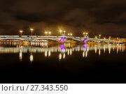 Купить «Благовещенский мост. Ночной вид. Санкт-Петербург», фото № 27343550, снято 31 декабря 2017 г. (c) Сергей Афанасьев / Фотобанк Лори