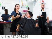 Купить «woman getting hair cut», фото № 27344286, снято 29 мая 2020 г. (c) Яков Филимонов / Фотобанк Лори