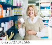 Portrait of mature woman at the pharmacy. Стоковое фото, фотограф Яков Филимонов / Фотобанк Лори