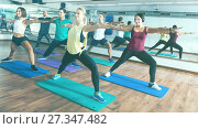 Купить «Happy adults having group fitness class», фото № 27347482, снято 27 июня 2019 г. (c) Яков Филимонов / Фотобанк Лори