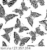Купить «Seamless pattern with butterflies», иллюстрация № 27357314 (c) Сергей Лаврентьев / Фотобанк Лори