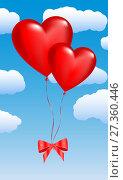 Купить «Two balloons in the shape of hearts on a sky», иллюстрация № 27360446 (c) Сергей Лаврентьев / Фотобанк Лори
