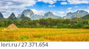 Beautiful rural landscape.Vang Vieng, Laos. Panorama (2017 год). Стоковое фото, фотограф Ольга Хорошунова / Фотобанк Лори