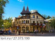 Купить «Viennese cake shop, Zdrojowa Street in Ciechocinek, Kuyavian-Pomeranian Voivodeship, Poland.», фото № 27373190, снято 21 июля 2019 г. (c) age Fotostock / Фотобанк Лори