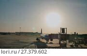 Купить «Plane taking off sky sunset sun dusk in airport China. Beijing.», видеоролик № 27379602, снято 8 января 2018 г. (c) Mikhail Davidovich / Фотобанк Лори