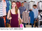 Купить «wife shopping bags with purchase in bags at apparel store», фото № 27380654, снято 13 апреля 2017 г. (c) Яков Филимонов / Фотобанк Лори