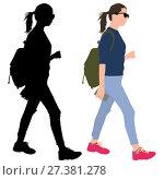 Girl with a phone and a backpack. Стоковая иллюстрация, иллюстратор Алексей Беликов / Фотобанк Лори