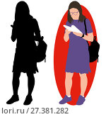 Girl with a book and a backpack. Стоковая иллюстрация, иллюстратор Алексей Беликов / Фотобанк Лори