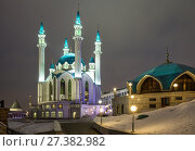 Купить «Illuminated mosque of Kul-Sharif in the Kazan Kremlin in winter evening, Kazan, Russia», фото № 27382982, снято 2 января 2018 г. (c) Юлия Бабкина / Фотобанк Лори