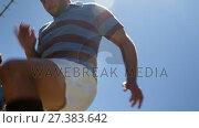 Купить «Rugby player doing spot jogging on a sunny day 4K 4k», видеоролик № 27383642, снято 25 апреля 2018 г. (c) Wavebreak Media / Фотобанк Лори