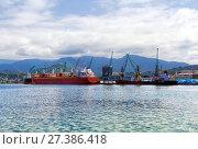 Купить «Container ship and fishing boat in the seaport. Батуми. Грузия», фото № 27386418, снято 11 июля 2013 г. (c) Евгений Ткачёв / Фотобанк Лори
