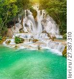 Tat Kuang Si Waterfalls. Beautiful landscape. Laos. (2017 год). Редакционное фото, фотограф Ольга Хорошунова / Фотобанк Лори