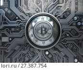 Купить «Bitcoin cryptocurrency security and mining concept. Safe lock with symbol of bitcoin on circuit board.», фото № 27387754, снято 14 августа 2018 г. (c) Maksym Yemelyanov / Фотобанк Лори