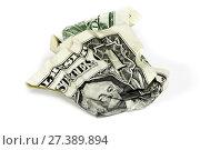 Купить «Смятая купюра достоинством 1 доллар на белом фоне», фото № 27389894, снято 6 мая 2010 г. (c) Александр Гаценко / Фотобанк Лори