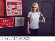 Beautiful girl with two braids in a white T-shirt. Mock-up. Стоковое фото, фотограф Женя Канашкин / Фотобанк Лори
