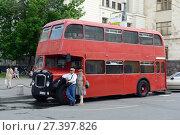 Купить «Красный пассажирский двухэтажный автобус Bristol Lodekka на улице в Москве», фото № 27397826, снято 29 мая 2016 г. (c) Free Wind / Фотобанк Лори