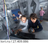 Купить «children play in the quest room of a inscrutable bunker», фото № 27409886, снято 21 октября 2017 г. (c) Яков Филимонов / Фотобанк Лори