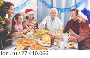 Купить «Smiling family members making conversation», фото № 27410066, снято 16 августа 2018 г. (c) Яков Филимонов / Фотобанк Лори