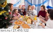 Купить «Adult family members saying toasts during dinner», фото № 27410122, снято 16 августа 2018 г. (c) Яков Филимонов / Фотобанк Лори