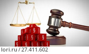 3D Section symbol icons and justice gavel with balance scales. Стоковое фото, агентство Wavebreak Media / Фотобанк Лори