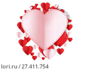 Купить «Valentines day design with hearts», фото № 27411754, снято 19 октября 2018 г. (c) Wavebreak Media / Фотобанк Лори