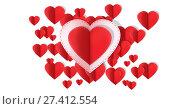 Купить «Valentines day design with hearts», фото № 27412554, снято 19 октября 2018 г. (c) Wavebreak Media / Фотобанк Лори