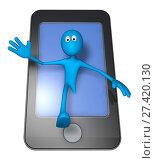 Купить «Blaue figur steigt aus smartphone-display - 3d illustration», фото № 27420130, снято 20 января 2018 г. (c) easy Fotostock / Фотобанк Лори