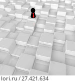 Купить «Spielfigur mit krawatte in würfelraum - 3d illustration», фото № 27421634, снято 23 января 2018 г. (c) easy Fotostock / Фотобанк Лори