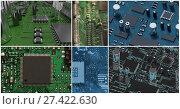 Купить «pcb collage, computer hardware collage», фото № 27422630, снято 20 марта 2019 г. (c) Wavebreak Media / Фотобанк Лори