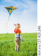 Купить «Young boy playing with his kite in a green field.», фото № 27425246, снято 20 мая 2014 г. (c) Александр Маркин / Фотобанк Лори