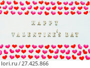 Купить «Red pink textile hearts and inscription Happy Valentines day on the white wooden background. St Valentines day background», фото № 27425866, снято 21 января 2018 г. (c) Зезелина Марина / Фотобанк Лори