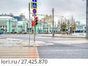 Купить «Тверская застава. Площадь, на которой находится Белорусский вокзал и станция метро», фото № 27425870, снято 14 января 2018 г. (c) Parmenov Pavel / Фотобанк Лори