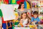 Купить «Children painting and drawing together. Craft lesson in primary school.», фото № 27426510, снято 25 марта 2017 г. (c) Gennadiy Poznyakov / Фотобанк Лори
