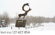 """Купить «Скульптура """"Олень"""" на Камчатке», видеоролик № 27427854, снято 15 ноября 2017 г. (c) А. А. Пирагис / Фотобанк Лори"""