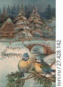 Купить «Старая новогодняя открытка», фото № 27428142, снято 24 февраля 2019 г. (c) Retro / Фотобанк Лори