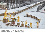 Купить «Sculptures of the Grand Cascade Fountain covered with snow. Lower Park Peterhof», фото № 27428458, снято 22 января 2018 г. (c) Юлия Бабкина / Фотобанк Лори