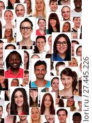 Купить «Hintergrund multikulturell Gruppe junge Menschen Portrait Flüchtlinge», фото № 27445226, снято 24 января 2018 г. (c) age Fotostock / Фотобанк Лори