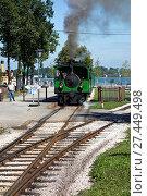 Купить «Chiemsee-Bahn Tourist Train and Rail Line, Germany.», фото № 27449498, снято 24 января 2018 г. (c) age Fotostock / Фотобанк Лори