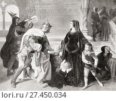 The capture, by Charles of Anjou, of King Manfred's wife Helena Angelina Doukaina and four children Beatrice, Frederick, Henry and Azzolino, after his... Редакционное фото, фотограф Classic Vision / age Fotostock / Фотобанк Лори