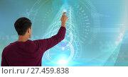 Купить «Man touches interface screen in digital domain world», фото № 27459838, снято 17 февраля 2019 г. (c) Wavebreak Media / Фотобанк Лори