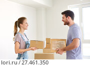 Купить «happy couple with boxes moving to new home», фото № 27461350, снято 4 июня 2017 г. (c) Syda Productions / Фотобанк Лори