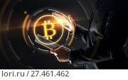 Купить «businessman with tablet pc and bitcoin hologram», фото № 27461462, снято 6 сентября 2016 г. (c) Syda Productions / Фотобанк Лори